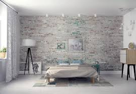 modern bedroom floor ls white exposed brick walls bedroom design with cool white drum shade