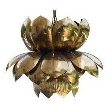 Lotus Chandelier Feldman Co Mid Century Sculptural Brass Lotus Chandelier Chairish