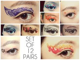 set 12 pairs temporary tattoo eye applique eyeshadow medusa