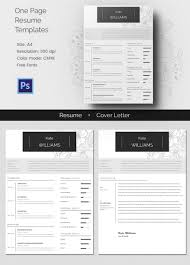 one page resume templates 51 creative resume templates free psd eps format download one page resume cv cover letter template