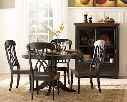 5 pc round pedestal dining table eye catching kitchen round dining table for 6 black small of set