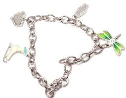 white gold bracelet with charm images Tiffany and co enamel diamond platinum white gold four charm jpg