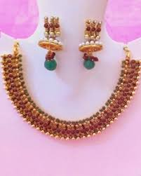 red necklace set images Moti necklace set india temple jewelry beautiful red green jpg