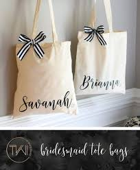 bridal party tote bags personalized tote bag bridesmaid totes by thewhiteinvitegifts