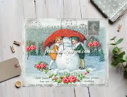 vintage snowman digital winter postcard shabby snowman printable
