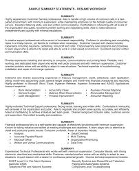 resume summary statements sles sle summary statement resume http exleresumecv org