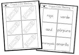 crayon color matching u2013 english u0026 spanish a to z teacher stuff