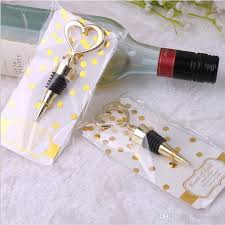 anniversary party favors metal gold heart shaped wine bottle stopper twist wine