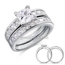 silver wedding ring sets princess cut created diamond engagement ring set 925 sterling