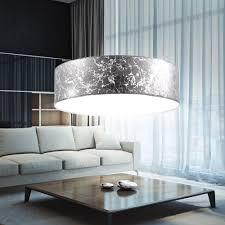 Wohnzimmerlampe 50er Jahre Details Zu Runde Pendel Leuchte Textil Silber Wohn Gäste Zimmer