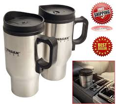 travel mug set 12 volt heated steel car cup cord coffee tea auto