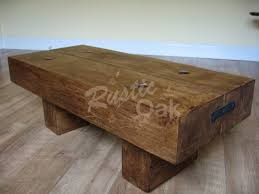 2 Beam Coffee Table With Rustic Bolts Rustic Oak