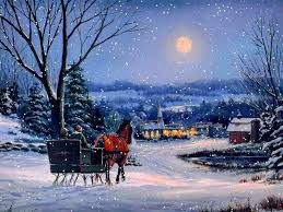Winter Houses by Winter Snow Fall Peaceful Light Walk Tree Forest Evening Winter