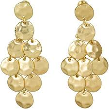 gold chandelier earrings heirloom finds luminous matte gold tone hammered disc