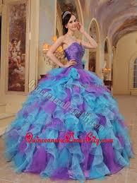 purple and aqua blue ruffles quinceanera dress with hand flower