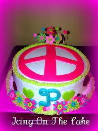 peace sign birthday cake icing on the cake lady flickr