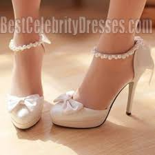 wedding shoes ankle white toe ankle pearl bow wedding shoes stiletto