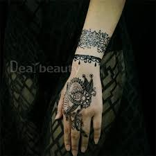 new diy tattoo sticker bridal black lace flower wedding bridal