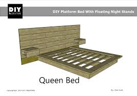 Diy Platform Bed Queen Diy Platform Bed With Floating Night Stands
