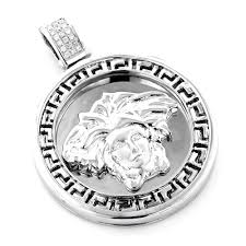 white gold necklace pendants images 10k gold versace style medusa head diamond pendant medallion jpg