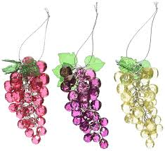 amazon com kurt adler 4 inch beaded grapes ornament set of 3