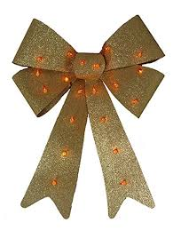 20 x 15 lighted glittery gold bow