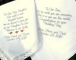 his and wedding gifts embroidered wedding handkerchiefs wedding gift and