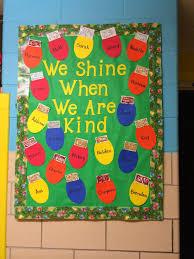 we shine when we are kind winter bulletin board classroom