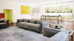 Living Room Dining Room Combo Decorating Ideas Rectangle Cream Sectional Fur Rug Small Living Room Dining Room