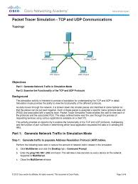 7 3 1 2 packet tracer simulation exploration of tcp and udp