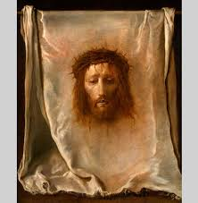 holy jesus the blood oozing face of the christ painted on a white