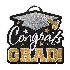 graduation sign black silver gold congrats grad sign party value
