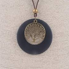 wood pendant necklace images Vintage pendants tree of life wooden necklace jpg