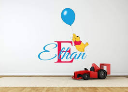nursery wall stickers with custom names by eydecals personalised name winnie the pooh balloon wall decal
