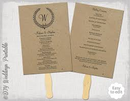 kraft paper wedding programs rustic wedding fan program template leaf garland diy order of