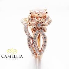 unique engagement ring settings rose gold diamond bridal ring set unique morganite bridal ring set