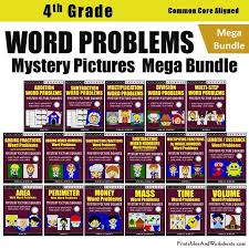 4th grade word problems mystery pictures coloring worksheets cards
