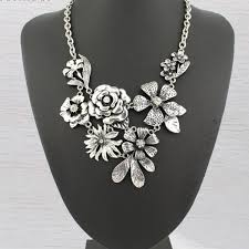 antique necklace silver images Vintage antique silver flower necklace kittijewelry jpg