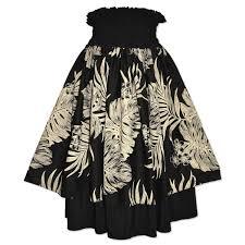 hawaiian pattern skirt monstera black hawaiian double pau hula skirt alohaz
