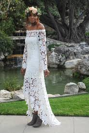 wedding dresses high high low lace bohemian wedding dress shoulder crochet