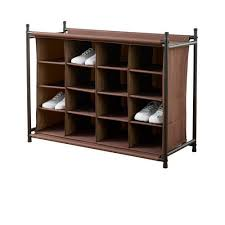 Shoe Rack by Neatfreak 16 Compartment Shoe Rack Brown Walmart