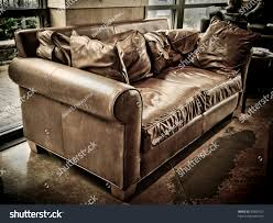 Worn Leather Sofa Well Worn Empty Leather Couch Coffee Stock Photo 35865322