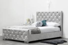 Grey King Size Bed Frame Luxury King Size Bed Frame Grey Fabric Silver Crushed