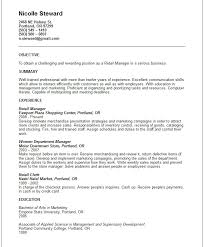 Retail Management Resume Examples by Very Attractive Resume Objective For Retail 7 Resume Summary