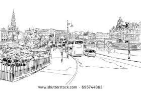 edinburgh scotland hand drawn city sketch stock vector 695744863