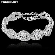 silver bracelet with crystal images Toucheart crystal bracelets for women femme silver color charm jpg