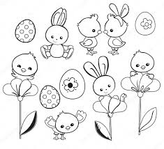 happy easter holiday illustration with cute chicken bunny duck
