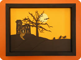 haunted house silhouette art project house interior