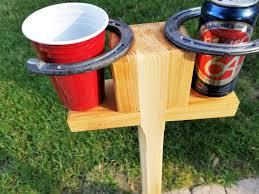 horseshoe drink holder portable lawn bevarage stand tailgate
