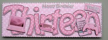 13th birthday large dl quick card n 3d decoupage cup419203 359